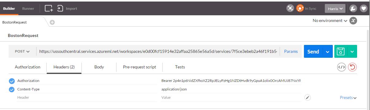 how to add bearer token to api url